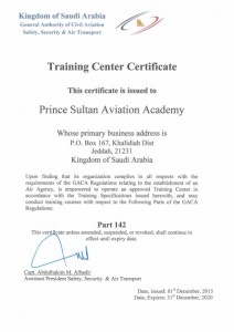 PSAA – GACAR Part 142 Training Center Certificate